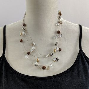 Jewelry - 💙💚Bead Stone Charm Necklace Silver Black Brown